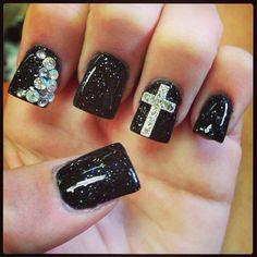 Cute cross nail design