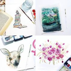 We couldn't pick just one  Stunning watercolor illustrations from @ekatearcher  Grab one already completed or dream up a custom piece...just dont Forget the #discount!  Exclusive 24 hour discount // hellohandmade for 20% off  #handmade #handmadewithlove #makersgonnamake  #handmadeshop #lovelysquares #etsy #etsyshop #illustration #art #watercolor #floral #books #pinhome