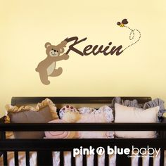 Teddy Bear Nursery Decor 24 Shelf With 5 Letter Wooden Tiles Painted Blue And Brown Max With