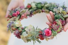 Autumnal blossoms from Christin Lange Photography How to Have the Bride Arrangement and Groom Boutonniere Flower Crown Wedding, Bridal Flowers, Artificial Bridal Bouquets, Flower Band, Hand Flowers, Hair Wreaths, Groom Boutonniere, Floral Crown, Wedding Styles