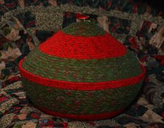 Fabric Rope Coiled Basket with Lid: Holiday Christmas Red Green - Round by HandMadeBySandraM on Etsy