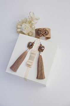 Soutache Earrings bracelet. Leather bracelet. Tassel boho chic beige earrings. Embroidered gift idea. Design beaded jevelry. Silk tassel earrings by AMDesignSoutache on Etsy shop https://www.etsy.com/shop/AMdesignSoutache