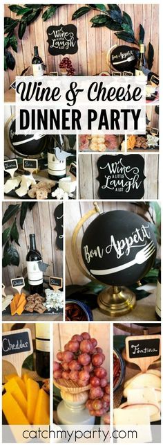Lovely Events's Dinner Party / Wine And Cheese - Wine And Cheese Party! at Catch My Party Wine And Cheese Party, Wine Tasting Party, Wine Parties, Wine Cheese, Outdoor Parties, Mystery Dinner Party, Themed Dinner Parties, Bachelor Parties, Wine Table