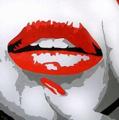 retro artwork | modern-retro-canvas-pop-art-sexy-red-lips-painting-a0a17