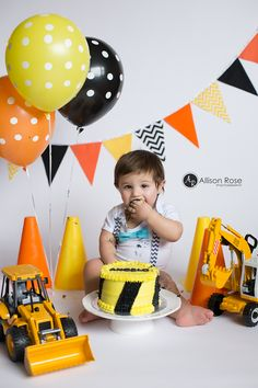 1st Birthday Construction Cake Smash by Allison Rose Photography