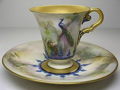 Royal Worcester Hadley Peacock Cup and Saucer
