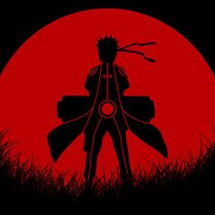 Uzumaki Naruto Red Moon Silhouette : Available as T-Shirts & Hoodies, iPhone & iPod Cases, Samsung Galaxy Cases, iPad Cases, Stickers, Posters, Cards, Prints, and Kids Clothes