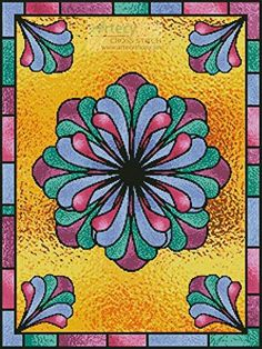 Stained Glass Floral 1 cross stitch pattern.