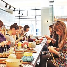 cake and wool - the best combo. Stitch & Story Beginner knitting workshops, stitch patterns, all natural yarn and bamboo needles
