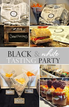 Host a black and white tasting #party with these DIY tips and ideas including chalkboard labels!