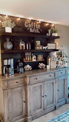 Coffee Bars In Kitchen, Coffee Bar Home, Coffee Corner, Coffe Bar, Diy Home Bar, Bars For Home, Home Decor Kitchen, Kitchen Design, Dresser Bar