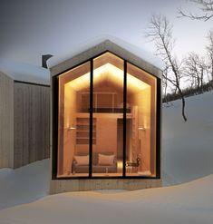 split view mountain lodge by reiulf ramstad arkitekter (RRA) in havsdalen, buskerud, norway