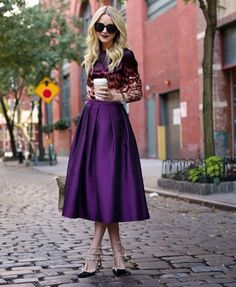 Blogger Blair Eadie pretty in purple.