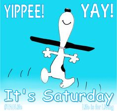 - Poster Yippee, Yay, It's Saturday! - Image: Snoopy by Charles Schulz, creator of the Peanuts comic strip- - - // // - Gaye Crispin's Businesss Clinic Transcendent. Saturday Morning Quotes, Saturday Images, Good Morning Quotes, Saturday Humor, Weekend Quotes, Funny Monday, Funny Morning, Morning Morning, Morning Images