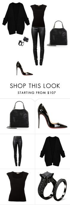 """""""All black everything outfit / Going out for dinner - NYC"""" by anna-hgf ❤ liked on Polyvore featuring STELLA McCARTNEY, Christian Louboutin, Alexander Wang, Michael Kors, Valentino, women's clothing, women's fashion, women, female and woman"""