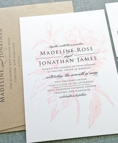 Pretty pink and kraft wedding invitation