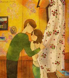 """가는 길 멈춰 서서 쪽! 향기가 참 좋아서 이대로 놔주고 싶지가 않아요.  """"A kiss on the way!  Your scent is so wonderful that I don't want to let go of you. """""""