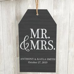 Buy Mr & Mrs Personalized Wedding Wall Tag you can customize with your own text. Choose from 10 color options to match any home decor. Personalized Garden Stones, Personalized Wall Decor, Personalized Wedding Gifts, Wall Plaques, Wall Signs, Painted Wooden Signs, Wood Tags, Wedding Wall, Beaded Garland