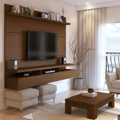 25251 - City Floating Wall Theater Entertainment Center in Nut Brown -Manhattan Comfort 25251 - City Floating Wall Theater Entertainment Center in Nut Brown - Folding Tables Obývací stěna CONDOR - švestka Living Room Tv, Apartment Living, Living Room Furniture, Apartment View, Living Area, Dining Room, Tv Entertainment Units, Floating Entertainment Center, Entertainment Products