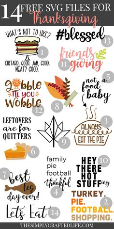 Pull out your Cricut or SIlhouette and celebrate thanksgiving in style! We are sharing 14 free SVG Files that are perfect for Thanksgiving including our own file! Make an easy handmade gift or decorate for fall with a fun cutting machine project! Cricut Fonts, Cricut Vinyl, Svg Files For Cricut, Cricut Air, Marker, Planners, Friends Thanksgiving, Thanksgiving Quotes, Thanksgiving Crafts