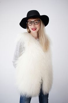 """This is a very """"snowless"""" winter, we are having here in Warsaw, but it is still cold enough to wear a nice fur vest :) #fashion #jeans #Dsquared #OOTD"""