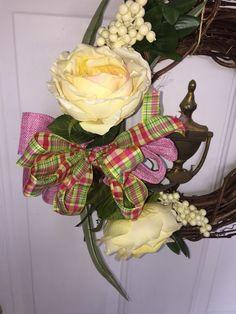 Spring or Easter Vine floral Door wreath on Mercari Yellow Peonies, Pink Yellow, Door Wreaths, Vines, Floral Wreath, Easter, Bows, Spring, Decor