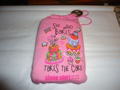 NIP Ladies Sleep Shirt.  Pink. Short Sleeve. One Size Fits Most. She Who Bakes.. #Relevant #Sleepshirt
