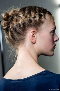 10 Best Updos to Protect Your Hair in Winter: Double French Braided Messy Chignon.