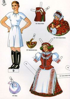A unique paper doll book from Hungary with 10 pages of paper dolls and their… Usa Culture, Paper Art, Paper Crafts, Polish Folk Art, Paper Doll House, Costumes Around The World, Fun Projects For Kids, Paper Dolls Printable, Vintage Paper Dolls