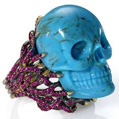 Turquoise and ruby skull ring by Wendy Brandes Beautiful!! I want it!