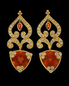 Brazilian fire opal earrings