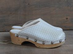 Soviet Vintage Kids Wooden Shoes Vintage Wooden Clogs Footwear Wood Shoes Platform Shoes Wood and Leather