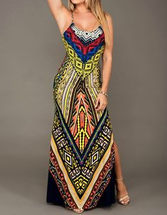 Product Code: TMD0370162 Package included: one piece dress Gender: Female Age Group: Adult Color:yellow Pattern: african print Material: polyester fibre Get stunning looking with this stylish dress. F