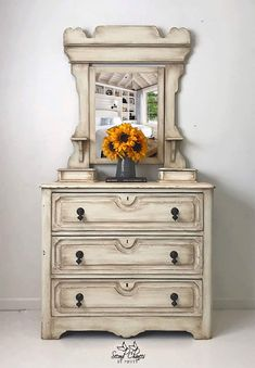 Vintage Victorian Style Dresser with Mirror Hand Painted #ad