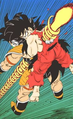 The death of Goku and Raditz. One of the saddest moments seeing goku die with his brother; because he even gave him one more chance and raditz still chose evil & because he will do anything to protect his family; even if that means giving up his own life. Dbz Manga, Manga Dragon, Manga Art, Dragon Ball Gt, Comics Illustration, Illustrations, Figurine Dragon, Z Arts, Anime Comics