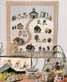 Reiko Kato Small Quilts, Mini Quilts, Book Quilt, Quilt Art, Country Quilts, House Quilts, Sunbonnet Sue, Girls Quilts, Applique Patterns