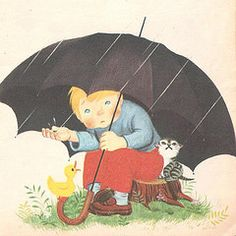 """Rain, rain, go away!  by Gyo Fujikawa, from """"Mother Goose"""", a Jolly Miller Book, undated."""