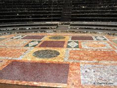 Beautiful marble floor at the Roman Theaters in Lyon, France. Marble was brought from all over the Mediterranean.