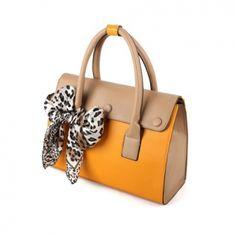 Yellow Leopard Scarf Totes Shoulder Bags Purses Faux Leather Women Korean  Fashion 1d331879eba1f