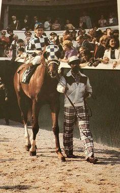 Secretariat, Ron Turcotte and Eddie Sweat at the 1973 Kentucky Derby.