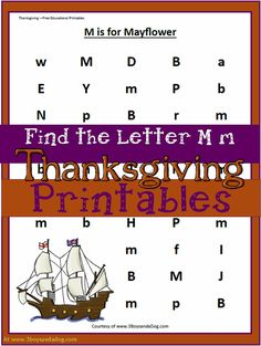 Find the Letter M - M is for Mayflower Free Thanksgiving Worksheets