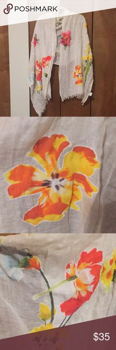 NWOT Anthropologie Scarf/shawl The absolute sweetest... wear on summer nights over your beachy dress or pair with jeans for a stunning accent. The flowers are sewn on. Never worn! Anthropologie Other