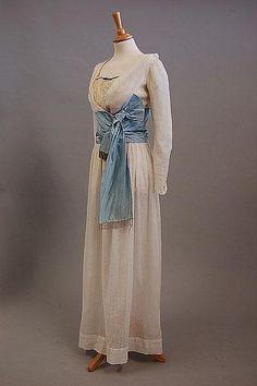 "circa 1905 white dress with blue ""cumberbund"""