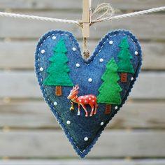 Felt Christmas heart ornaments set Set of 2 felt by LeopardValley