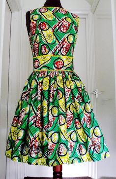 Green and Yellow Ankara Dress, Short Cotton Dress, Ladies' Summer Dress, African Wax Dress - Made to Order