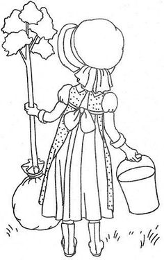 Coloring Book~HH House Of Coloring Fun - Bonnie Jones - Picasa Web Albums Free Machine Embroidery Designs, Hand Embroidery Patterns, Vintage Embroidery, Embroidery Applique, Sue Sunbonnet, Holly Hobbie, Patch Quilt, Printable Designs, Coloring Book Pages