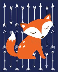 Woodland Dreams by Peanut Shell, Fox Nursery Print, Boy Woodland Nursery, Arrow Nursery Decor, Toddler Bedroom Ideas, Boy Woodland Bedroom Orange and Navy Blue Nursery.  Woodland Nursery Print by LJBrodock