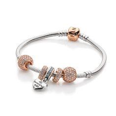 Pandora silver and rose gold bracelet idea
