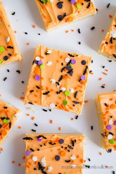 Halloween Sugar Cookie Bars are perfect for any halloween party with friends or family. All 30 cookies can be made in 30 minutes. Frosted with sprinkles. A recipe that is super simple and makes 30 bars in under 30 minutes! Halloween Sugar Cookies, Halloween Baking, Halloween Desserts, Holiday Baking, Halloween Treats, Halloween Party, Fall Treats, Holiday Treats, Holiday Cookies