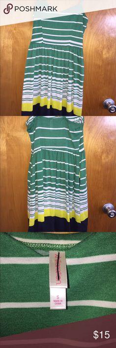 Striped Sun Dress Spaghetti Strap Sun Dress Green, White, Yellow, and Navy Blue Stripes Xhilaration Dresses